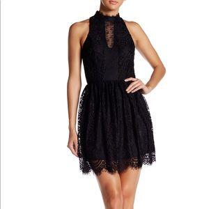 Trixxi Black High Neck Eyelash Lace Dress